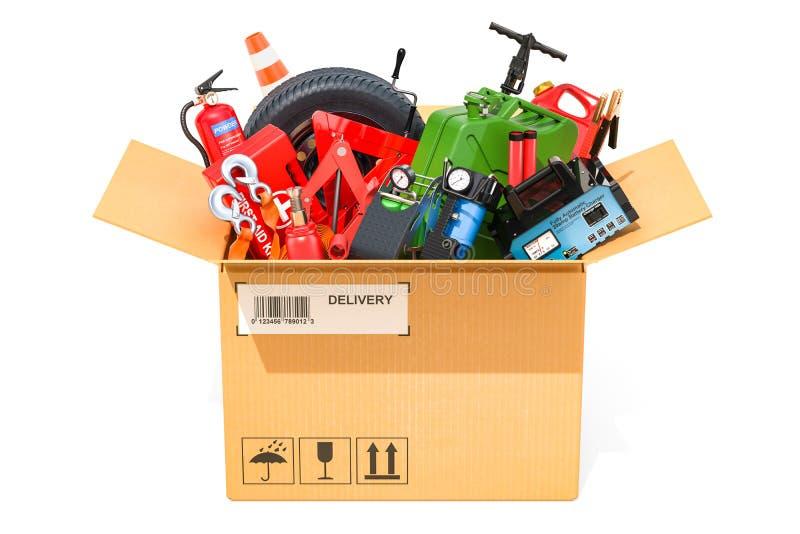 Pappschachtel mit Autowerkzeugen, -ausrüstung und -Zubehör 3d zerreißen lizenzfreie abbildung