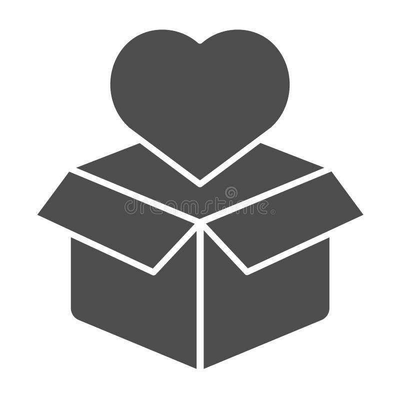 Pappschachtel mit fester Ikone des Herzens Paket- und Herzvektorillustration lokalisiert auf Wei? Liebe anwesende Glyphart stock abbildung