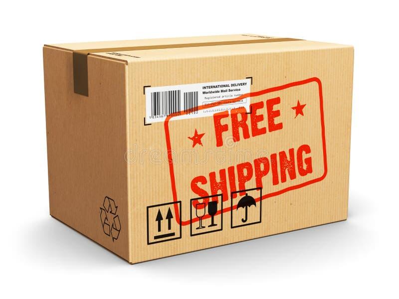 Pappschachtel mit Stempel des kostenlosen Versands lizenzfreie abbildung