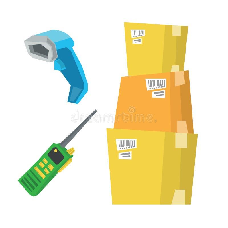 Pappschachteln, Barcodescanner und Funkgerät stock abbildung