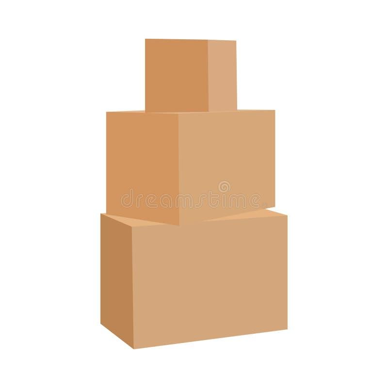 Pappschachtelstapel Staplungssatz Pakete Grafikdesignelement für Flieger, Plakat, Post, weltweit lizenzfreie abbildung