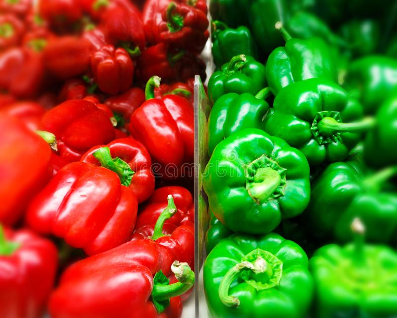 Paprika Background. Fresh Green and Red Organic Bell Pepper Capsicum in the Supermarket. Group of Fresh Capsicum at Market Store. royalty free stock image