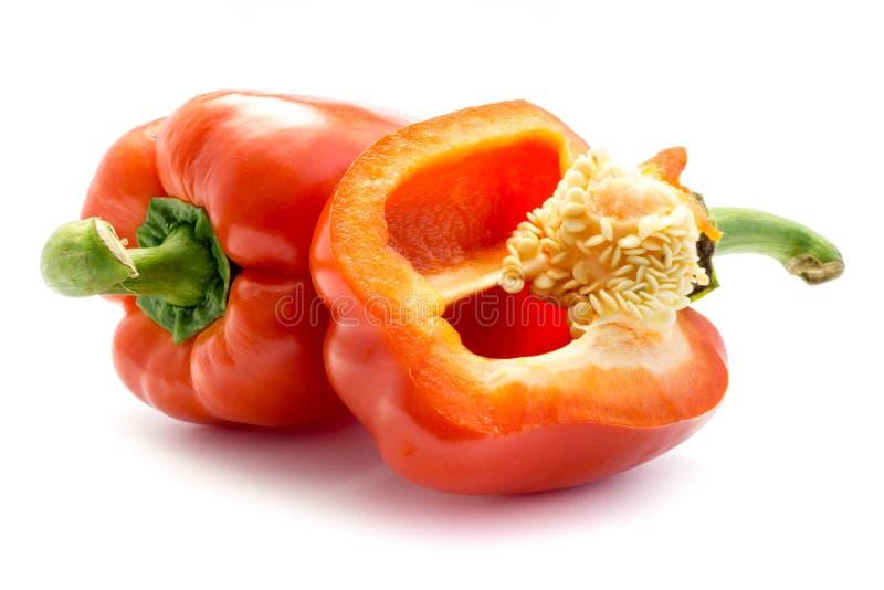 Paprika Bell Pepper in Rot lokalisiertem weißem Hintergrund stockbilder