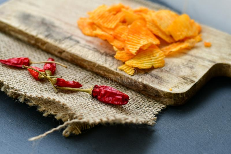 Paprika chips stock image