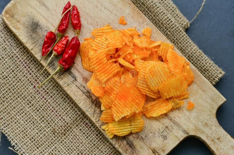 Paprika chips stock photography