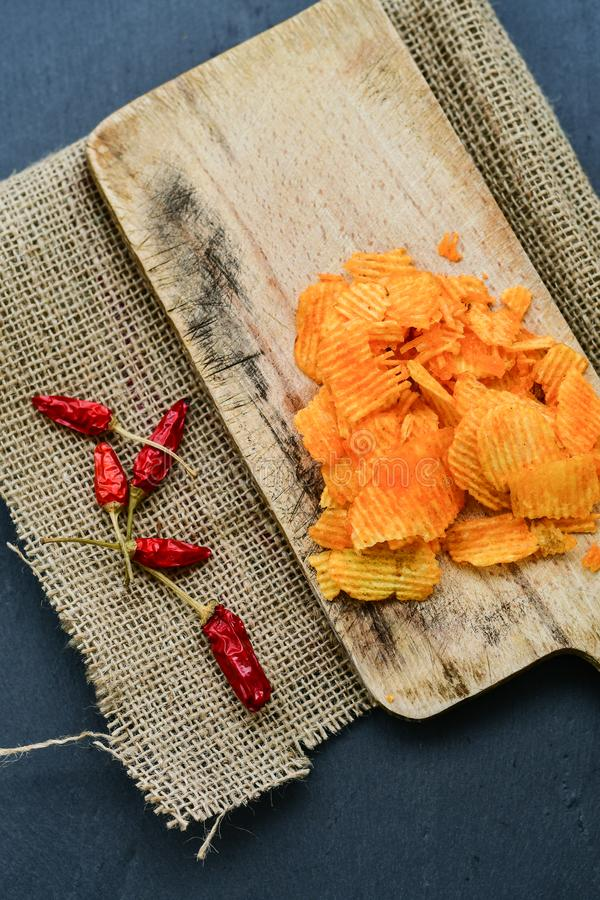 Paprika chips stock images