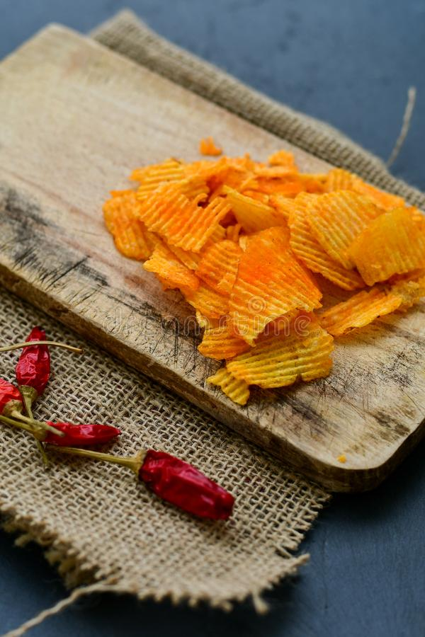 Paprika chips stock image