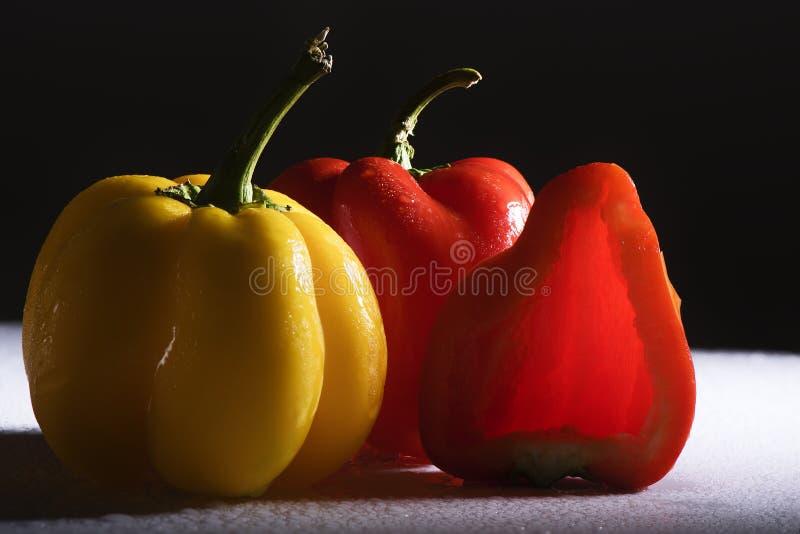 Paprika coloré frais sur le fond blanc images libres de droits