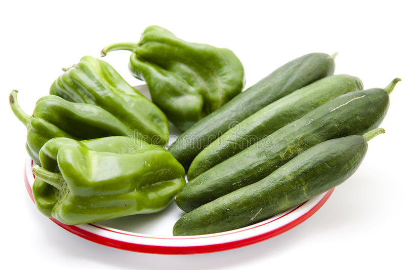 Download Paprika And Cucumbers On Plate Stock Image - Image: 30154373
