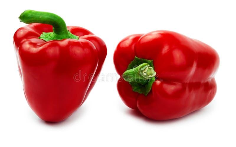 Paprika de deux rouges (paprika) d'isolement sur un blanc photo stock