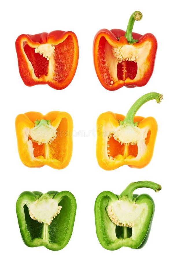 Paprika dulce cortado por la mitad fotografía de archivo