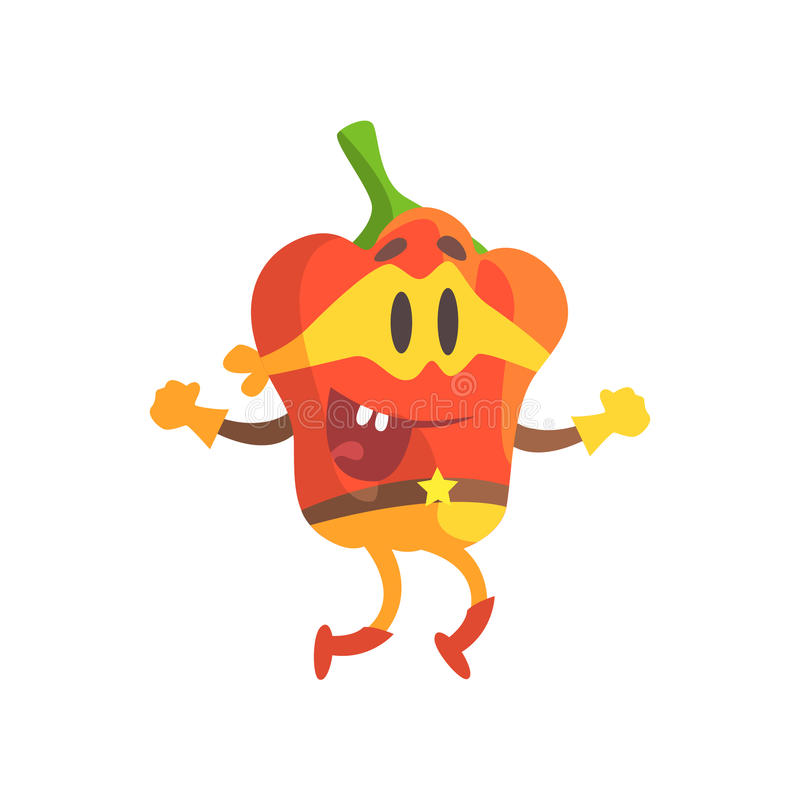 Paprika en el traje de la máscara y del super héroe, parte de verduras en series de los disfraces de la fantasía de caracteres to stock de ilustración