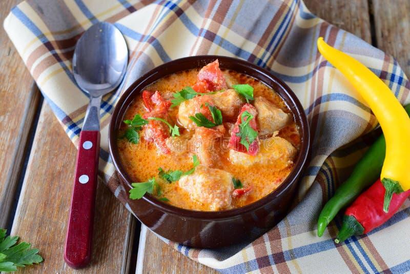Paprika et poulet hongrois traditionnels de witth de plat dans un sause crémeux dans un pot en céramique Concept sain de consomma photos stock