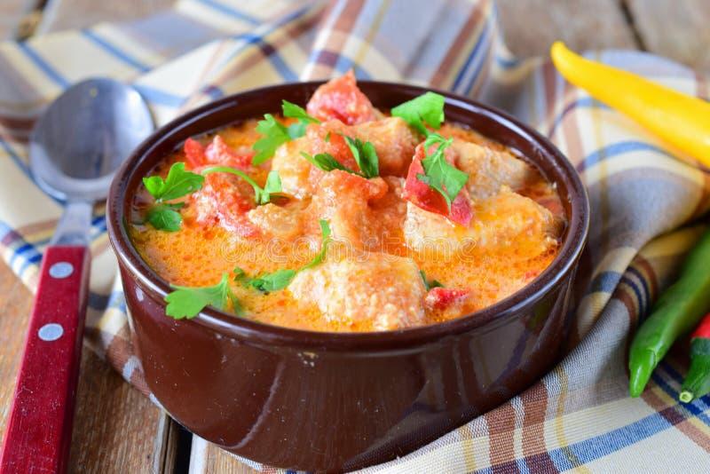 Paprika et poulet hongrois traditionnels de witth de plat dans un sause crémeux dans un pot en céramique Concept sain de consomma photo stock