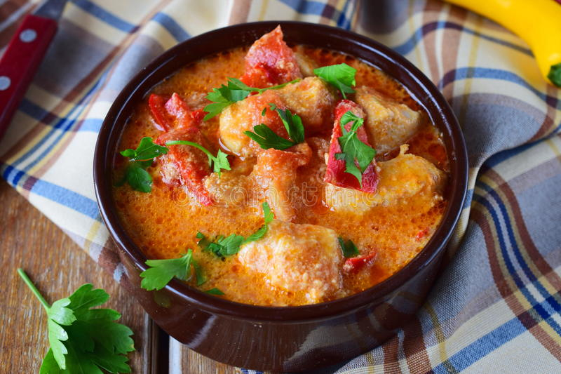 Paprika et poulet hongrois traditionnels de witth de plat dans un sause crémeux dans un pot en céramique Concept sain de consomma images libres de droits