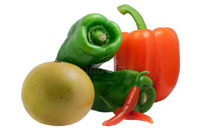 Paprika, Green pepper and grapefruit chilli. Pepper isolated with white background color stock photos