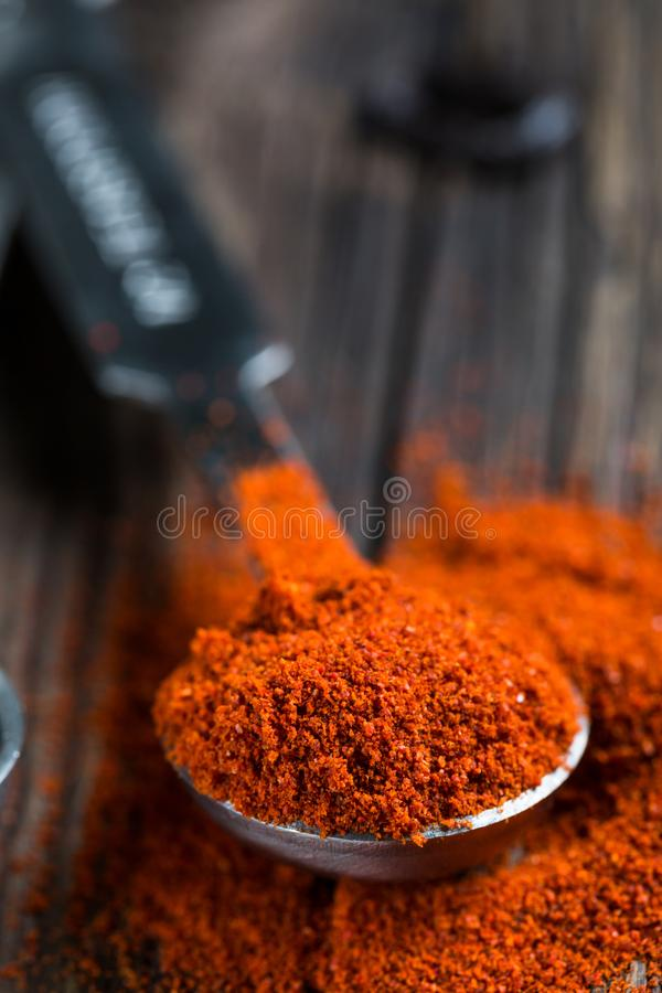 Paprika. Ground red pepper. Close-up stock image