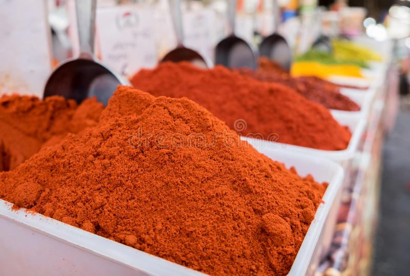 Paprika is a ground spice made from dried red bell pepper. Sold at local market stock photo