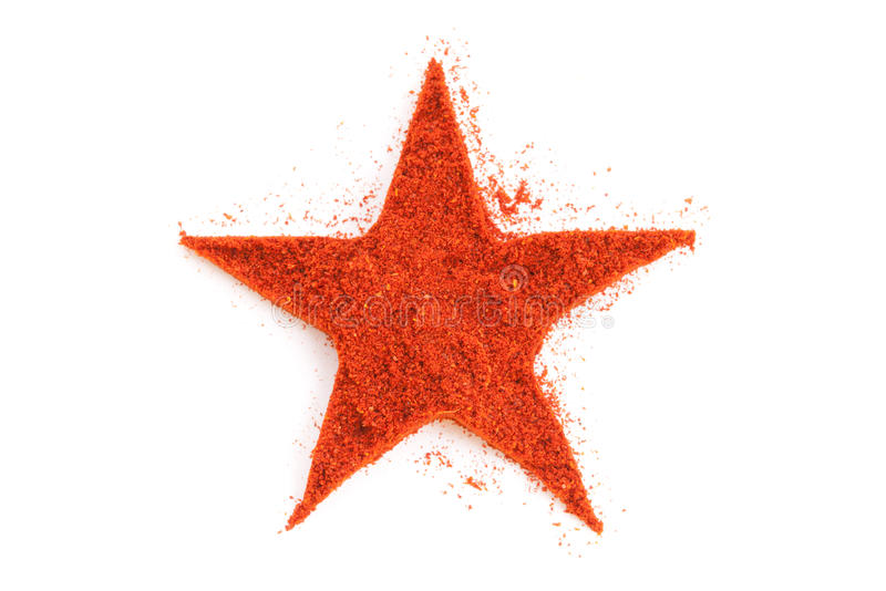 Paprika isolated in star shape on white stock image