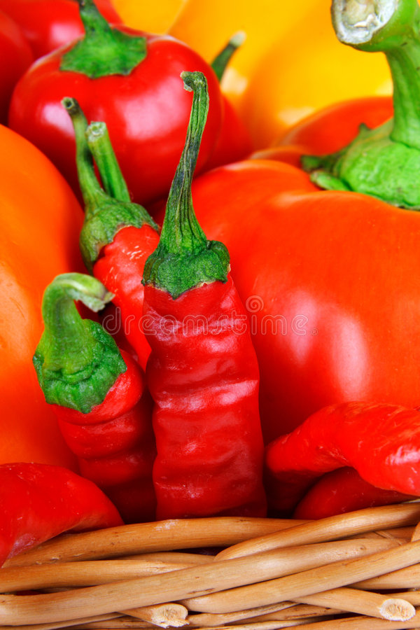 Paprika mix. In basket different paprika mix royalty free stock photos