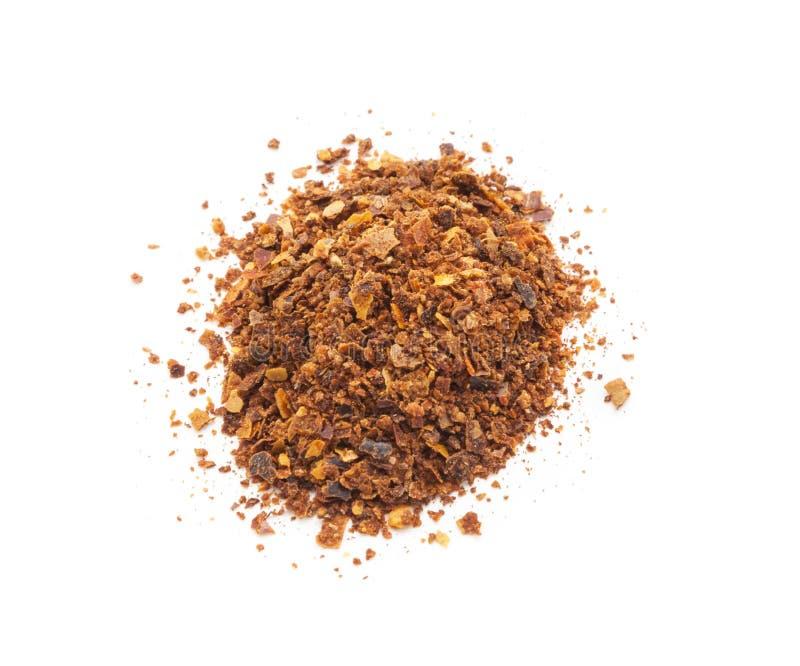 Paprika moulu de poivre de piment rouge d'isolement sur le blanc photos libres de droits