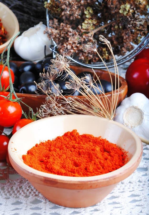red pepper powder stock photo