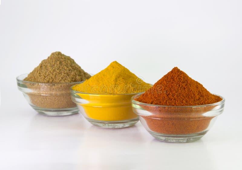 Paprika-Pulver-, Gelbwurz-Pulver- u. Korianderpulver in der Schüssel stockfotografie