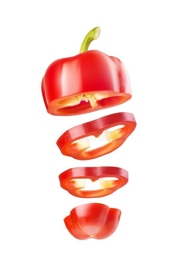 Paprika rouge coupé en tranches en anneaux, volant dans le ciel illustration libre de droits