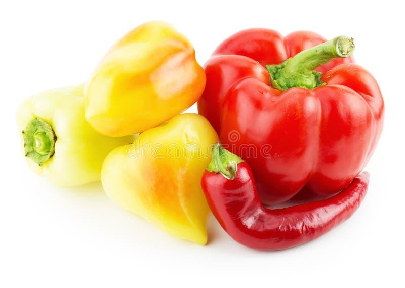Paprika rouge, poivrons jaunes et poivre de piment image libre de droits