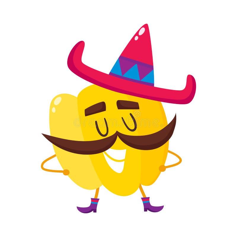 Paprika sonriente con el bigote grueso y el sombrero mexicano stock de ilustración
