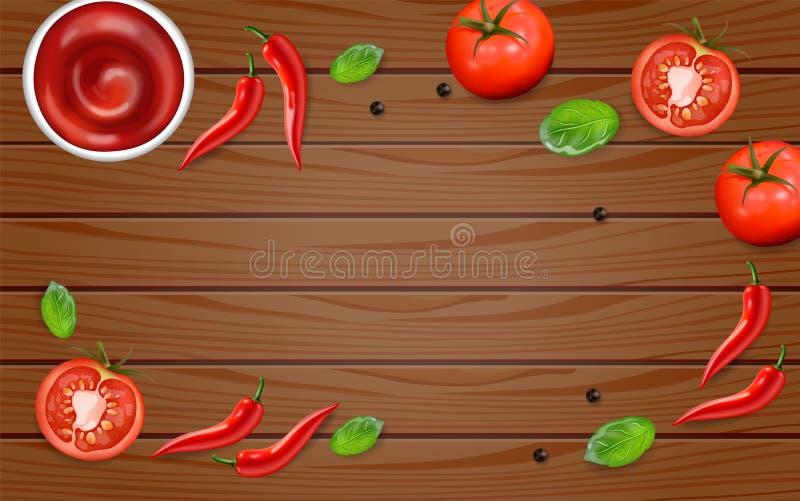 Paprika und Tomate auf hölzernem Tabelle Vektor realistisch Bestandteil-Planschablone der scharfen Soße Menübroschüre annoncieren vektor abbildung