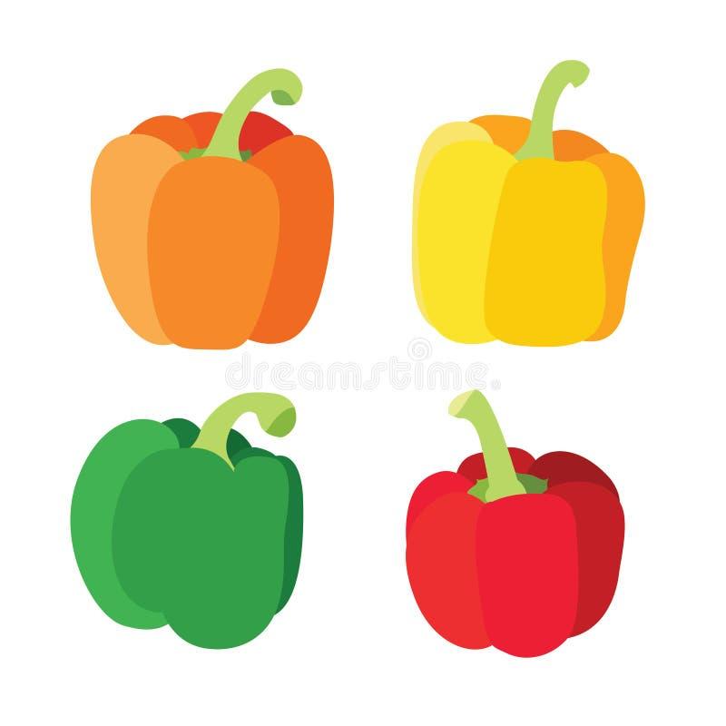 Paprika vert rouge jaune-orange d'isolement sur le fond blanc illustration de vecteur