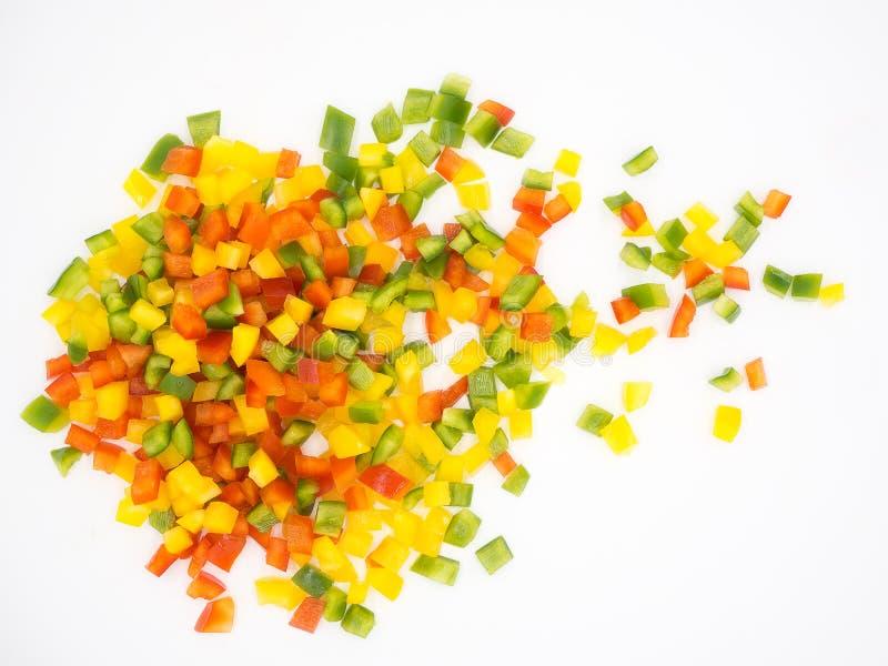 Paprikas dulces rojos, verdes y amarillos fotografía de archivo
