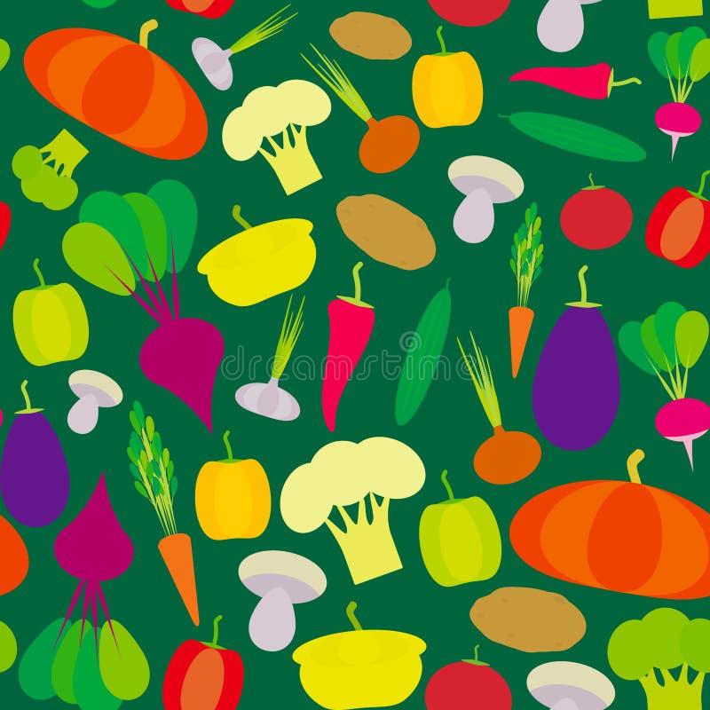 Paprikas inconsútiles de las verduras del modelo, zanahorias de las remolachas de la calabaza, berenjena, pimientas candentes, co stock de ilustración