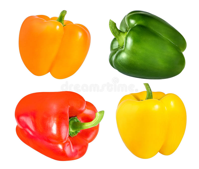 Paprikas rouges, oranges, verts et jaunes d'isolement sur le blanc photos stock