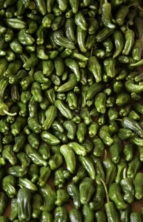 Paprikor i grönsakshandlare arkivfoto