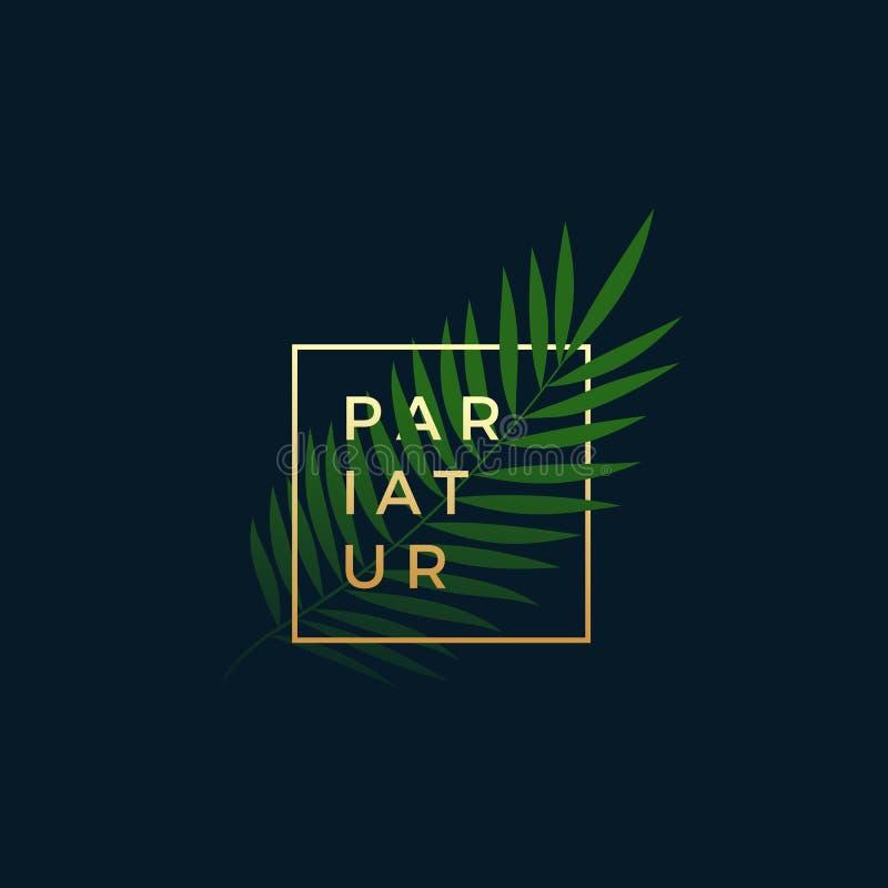 Paprociowy lub Palmowy liść W Złotej ramie z Nowożytną typografią Abstrakcjonistyczny wektoru znak, symbol lub loga szablon, eleg ilustracja wektor