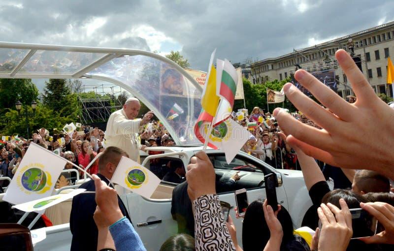 Papst Franziskus besichtigte Sofia, Bulgarien am 5. Mai 2019 stockfotografie