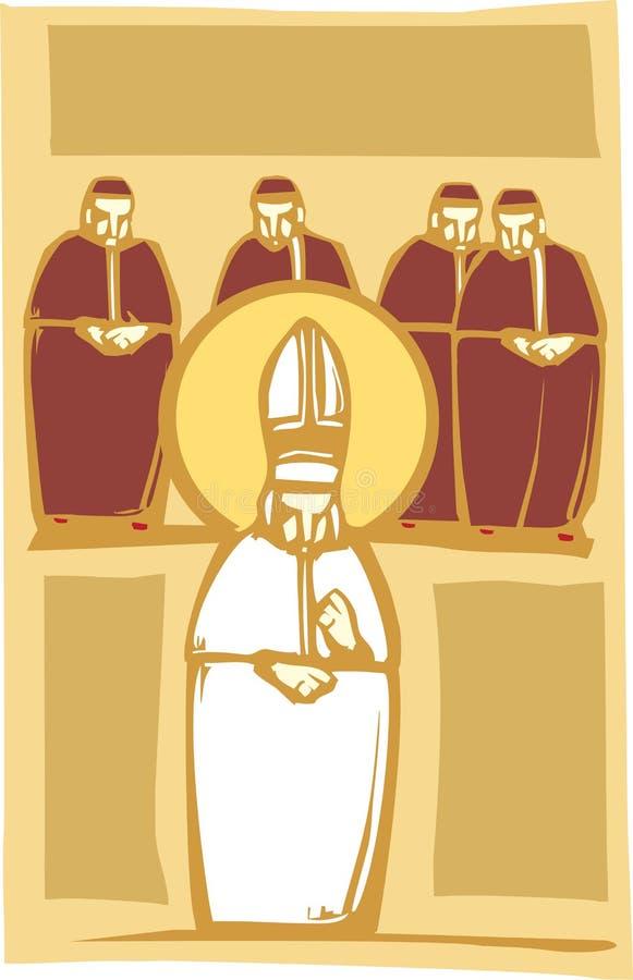 Papst und Kardinäle stock abbildung