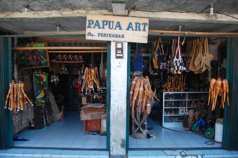 Papua art gift shop Jayapura. Papua art gift shop in Jayapura, Indonesia royalty free stock photography