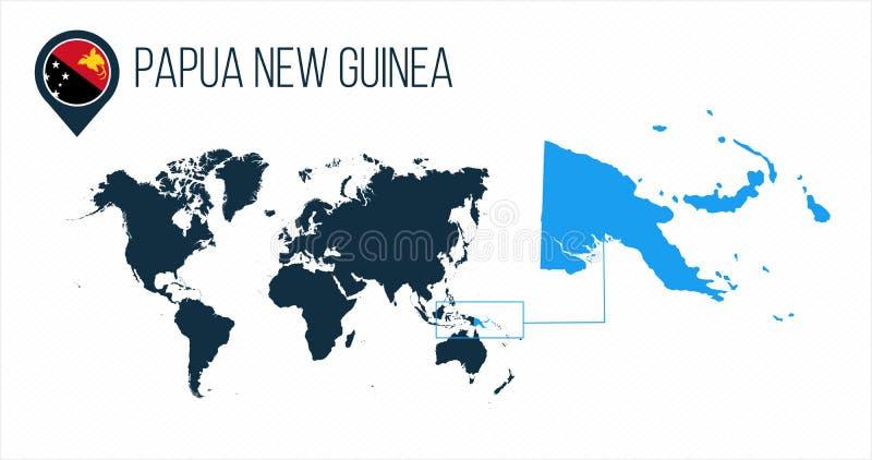 Papua-Neu-Guinea Karte gelegen auf einer Weltkarte mit Flagge und Kartenzeiger oder -stift Infographic-Karte Vektorillustration a lizenzfreie stockfotos