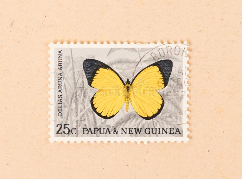 A stamp printed in Papua New Guinea shows a butterfly, circa 1980. PAPUA NEW GUINEA - CIRCA 1980: A stamp printed in Papua New Guinea shows a butterfly, circa stock photography