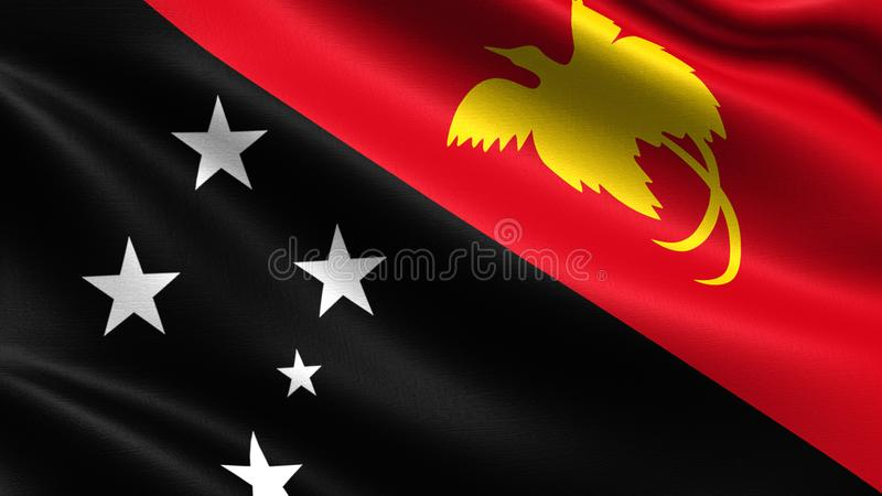 Papua New Guinea flag, with waving fabric texture. Flag blowing in the wind with highly detailed fabric texture, 4k resolution royalty free stock photography
