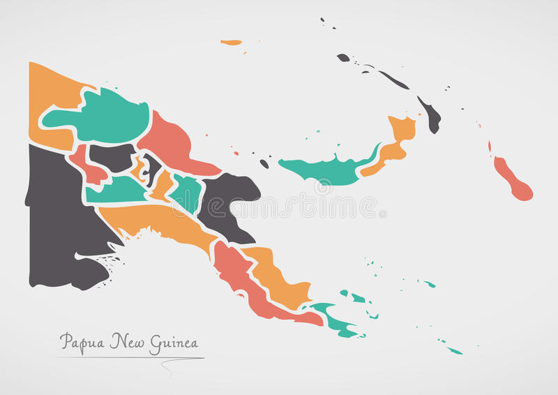 Papua New Guinea Map with states and modern round shapes. Illustration vector illustration