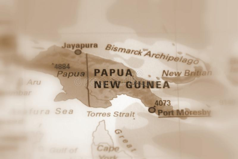 Papua New Guinea. PNG, officially the Independent State of  sepia selective focus royalty free stock photos