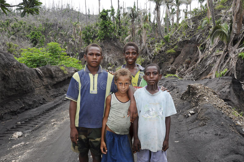 Papua New Guinea People. Children of Papua New Guinea, Rabaul Caldera royalty free stock photos