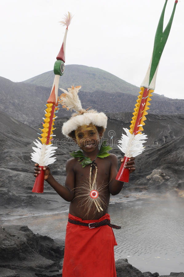 Papua New Guinea People. Papua New Guinea Kid within their traditional costume royalty free stock photos