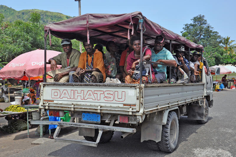 PAPUA NEW GUINEA PEOPLE. Truck full of people, Rabaul, Papua New Guinea stock image