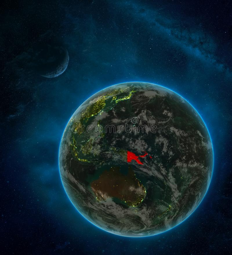 Papua New Guinea from space on Earth at night surrounded by space with Moon and Milky Way. Detailed planet with city lights and. Clouds. 3D illustration royalty free illustration