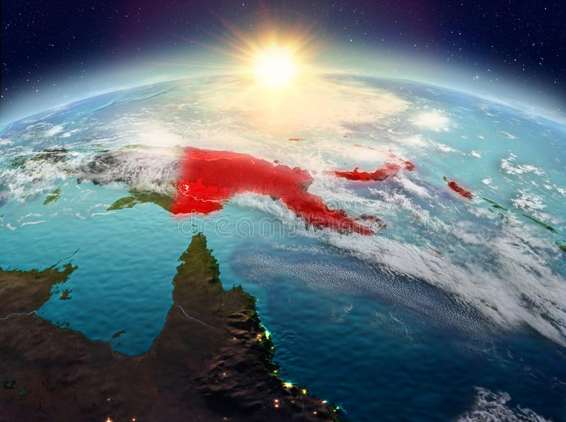 Papua New Guinea from space in sunrise. Satellite view of Papua New Guinea highlighted in red on planet Earth with clouds during sunrise. 3D illustration stock photography